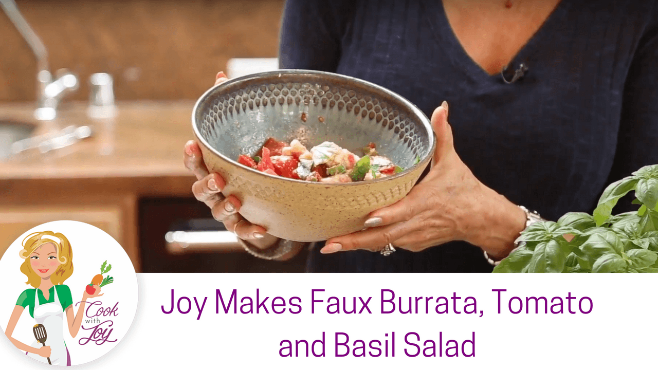 Faux Burrata, Tomato and Basil Salad